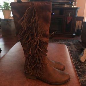 Rampage Cognac Brown Fringe Boots EUC Size 8